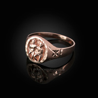 Rose Gold Gemini Satin DC Band Ladies Zodiac Ring