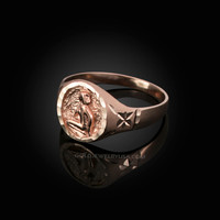 Rose Gold Virgo Satin DC Band Ladies Zodiac Ring