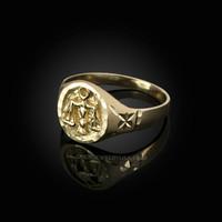 Yellow Gold Libra Satin DC Band Ladies Zodiac Ring