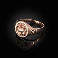 Rose Gold Scorpio Satin DC Band Ladies Zodiac Ring