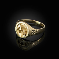 Yellow Gold Taurus Satin DC Band Ladies Zodiac Ring