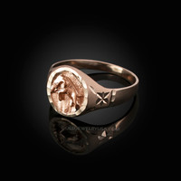 Rose Gold Taurus Satin DC Band Ladies Zodiac Ring