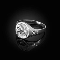 White Gold Leo Satin DC Band Ladies Zodiac Ring