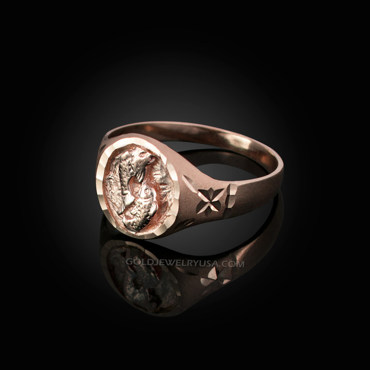 3f35cd5a0 Rose Gold Pisces Satin DC Band Ladies Zodiac Ring. Image 1. Loading zoom