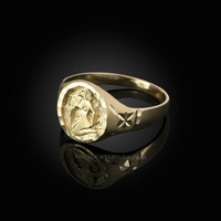 Yellow Gold Aquarius Satin DC Band Ladies Zodiac Ring