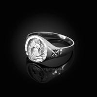 White Gold Aquarius Satin DC Band Ladies Zodiac Ring