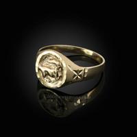 Yellow Gold Capricorn Satin DC Band Ladies Zodiac Ring