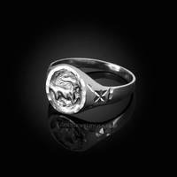 White Gold Capricorn Satin DC Band Ladies Zodiac Ring