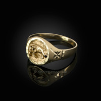 Yellow Gold Aries Satin DC Band Ladies Zodiac Ring