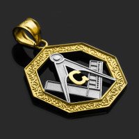 Two-Tone Gold Octagonal Masonic Pendant