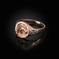 Rose Gold Aries Satin DC Band Ladies Zodiac Ring