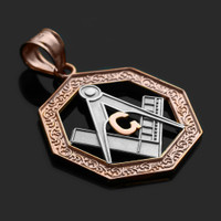 Two-Tone Rose Gold Octagonal Masonic Pendant