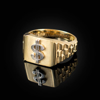 Gold Dollar Sign Mens Ring