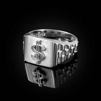 White Gold Dollar Sign Mens Ring