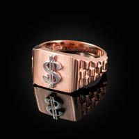 Rose Gold Dollar Sign Mens Ring