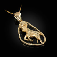 Gold Aries Zodiac Sign DC Pendant Necklace