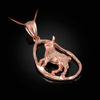 Rose Gold Taurus Zodiac Sign DC Pendant Necklace