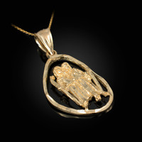 Gold Gemini Zodiac Sign DC Pendant Necklace