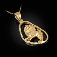 Gold Leo Zodiac Sign DC Pendant Necklace