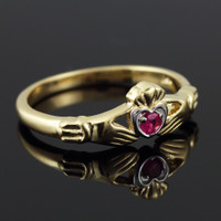 Dainty Gold Claddagh Promise Ring with Ruby