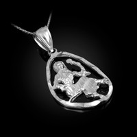 White Gold Virgo Zodiac Sign DC Pendant Necklace