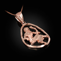 Rose Gold Virgo Zodiac Sign DC Pendant Necklace