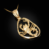 Gold Scorpio Zodiac Sign DC Pendant Necklace