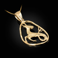 Gold Capricorn Zodiac Sign DC Pendant Necklace