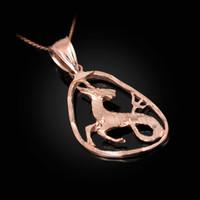 Rose Gold Capricorn Zodiac Sign DC Pendant Necklace