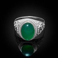 White Gold Om Green Onyx Oval Gemstone Mens Ring