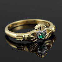 Dainty Gold Claddagh Promise Ring with Emerald