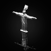 Polished White Gold Jesus Christ The Redeemer Cross Brazil Rio Statue Pendant