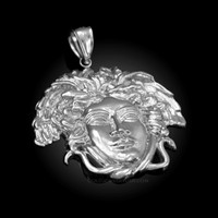 Polished White Gold Medusa Pendant (S/M/L)