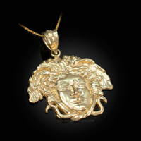 Yellow Gold Medusa Charm Necklace