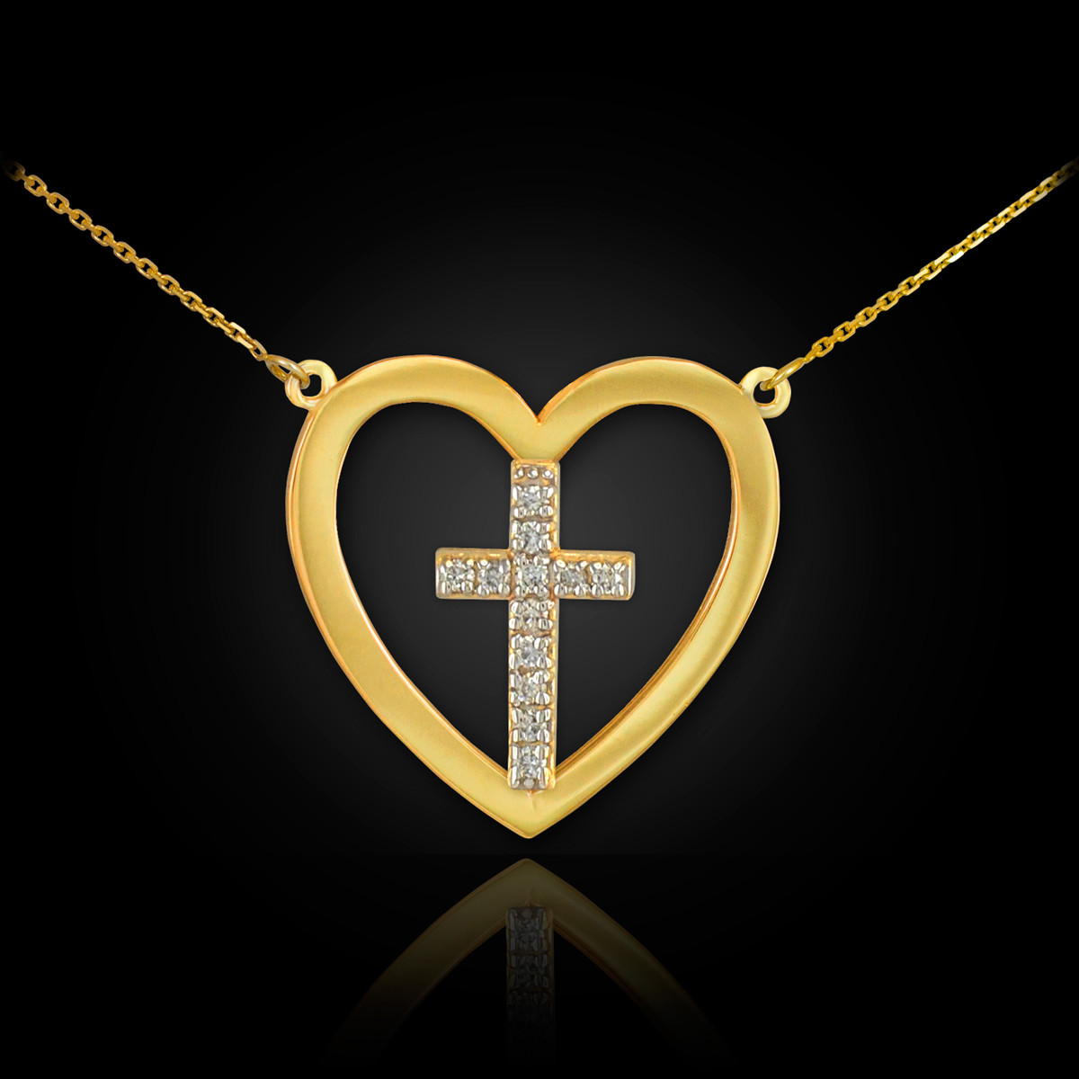 Solid Gold Open Heart 12 Diamonds Cross Enclosure Pendant Necklace