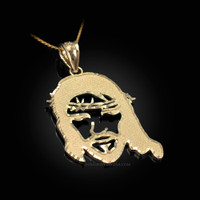 Yellow Gold  Jesus Face DC Charm Necklace