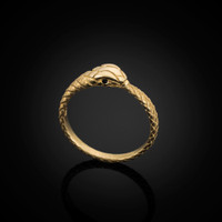 Gold Ouroboros Snake Black Diamond Ring Band