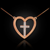 14K Rose Gold Open Heart Diamond Cross Necklace