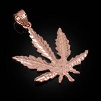 Rose Gold Marijuana Weed DC Pendant