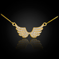 14K Diamond Studded Gold Wings Necklace