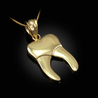 Polished Gold Molar Tooth Dental Charm Necklace