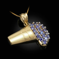 Polished Gold Lean Purple Drank CZ Pendant Necklace