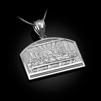White Gold Last Supper Pendant Necklace