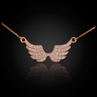 14K Rose Gold Diamond Studded Angel Wings Necklace