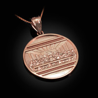 Rose Gold Last Supper Medallion Pendant Necklace