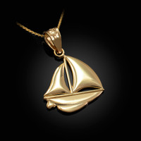 Polished Gold Sail Boat Pendant Necklace