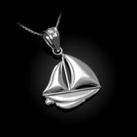 Polished White Gold Sail Boat Pendant Necklace