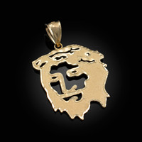 Yellow Gold Jesus Face DC Pendant (S/L)