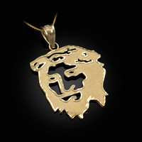 Yellow Gold  Jesus Face DC Charm Necklace.