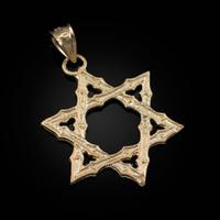 Yellow Gold Jewish Star of David Reversible Pendant